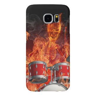 Flaming Skeleton on Drums Samsung Galaxy S6 Case