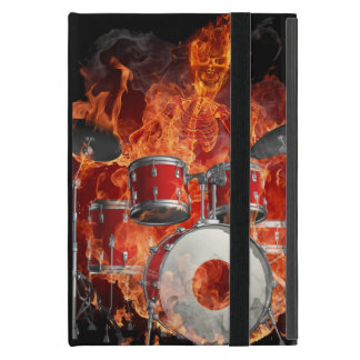 Flaming Skeleton Playing the Drums iPad Mini Case