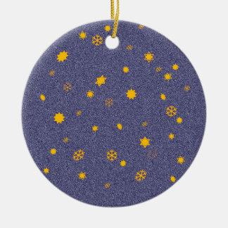'Flaming Skies'/'Stars through Snowfall' Ceramic Ornament