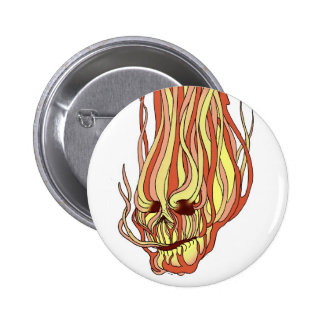 Flaming Skull 2 Inch Round Button