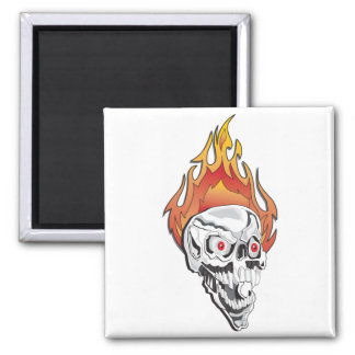 Flaming Skull 2 Inch Square Magnet