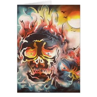 flaming skull abstract art card