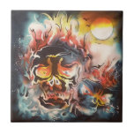 flaming skull abstract art small square tile