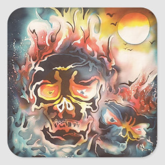 flaming skull abstract art square sticker