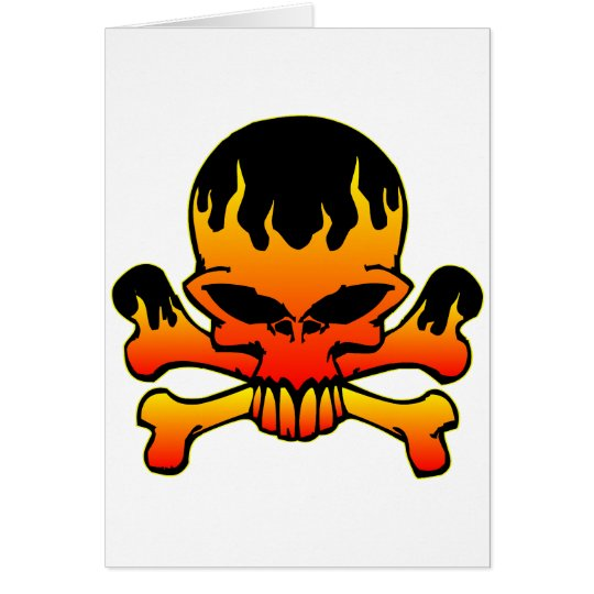 Flaming Skull and Crossbones Card