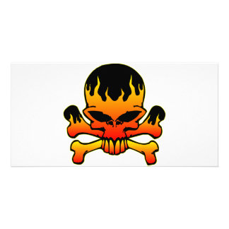 Flaming Skull and Crossbones Card