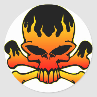 Flaming Skull and Crossbones Classic Round Sticker