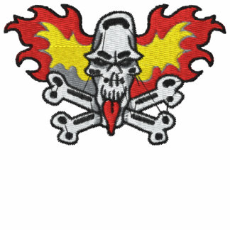 Flaming Skull and Crossbones Embroidered Shirt