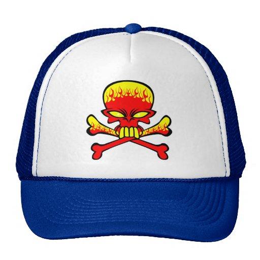 Flaming Skull and Crossbones Hat