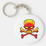 Flaming Skull and Crossbones Keychains