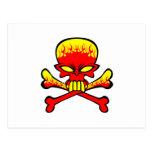 Flaming Skull and Crossbones Postcards