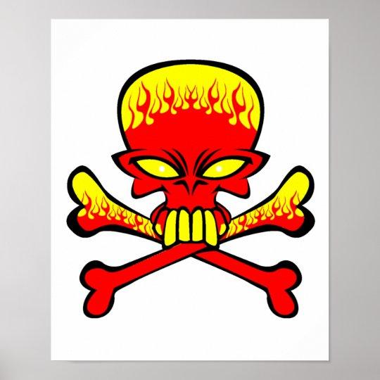 Flaming Skull and Crossbones Poster