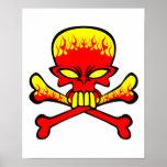 Flaming Skull and Crossbones Print