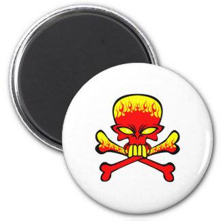 Flaming Skull and Crossbones Refrigerator Magnets