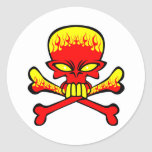 Flaming Skull and Crossbones Round Sticker