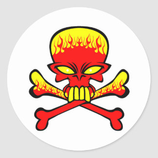 Flaming Skull and Crossbones Round Sticker