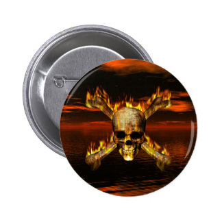 Flaming Skull and Crossbones w/Red Sky Background Button