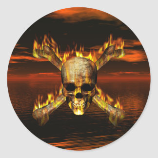 Flaming Skull and Crossbones w/Red Sky Background Classic Round Sticker