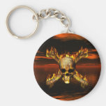 Flaming Skull and Crossbones w/Red Sky Background Keychain