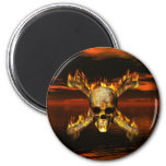 Flaming Skull and Crossbones w/Red Sky Background 2 Inch Round Magnet