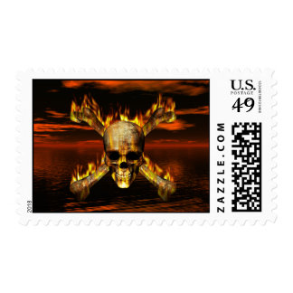 Flaming Skull and Crossbones w/Red Sky Background Postage Stamp