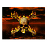 Flaming Skull and Crossbones w/Red Sky Background Post Card