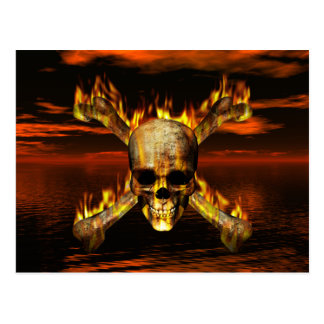 Flaming Skull and Crossbones w/Red Sky Background Postcard