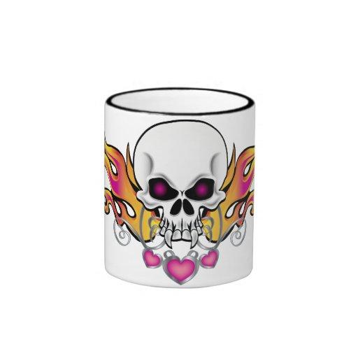 Flaming Skull and Hearts Coffee Mugs