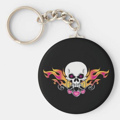 Flaming Skull and Hearts Keychain