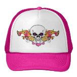 Flaming Skull and Hearts Mesh Hats