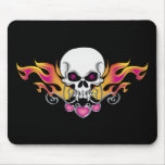 Flaming Skull and Hearts Mouse Pad