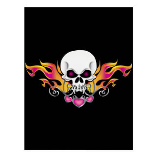 Flaming Skull and Hearts Postcard