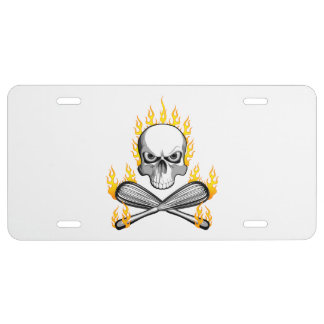 Flaming Skull and Whisks License Plate
