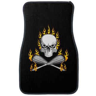 Flaming Skull and Whisks Car Mat