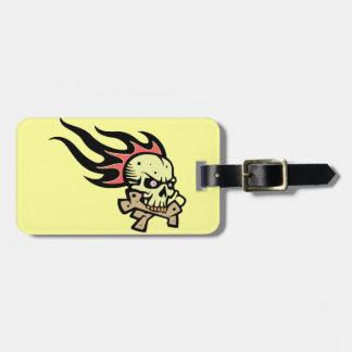 Flaming skull bag tag