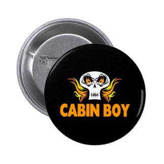 Flaming Skull Cabin Boy Pinback Buttons
