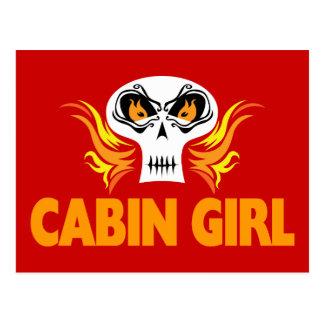Flaming Skull Cabin Girl Postcard