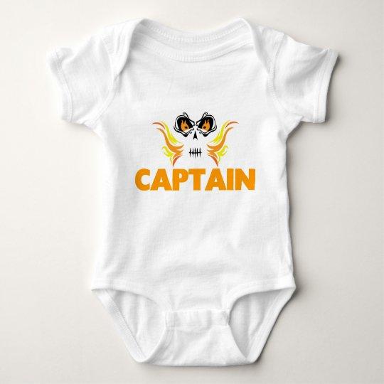 Flaming Skull Captain Baby Bodysuit