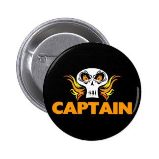 Flaming Skull Captain Pinback Buttons