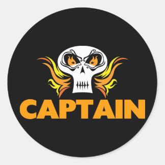 Flaming Skull Captain Round Sticker
