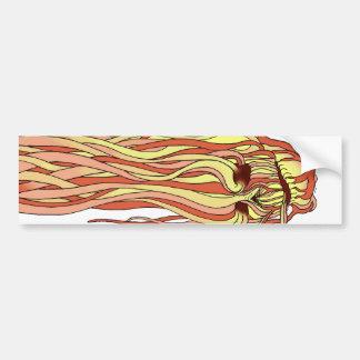 Flaming Skull Car Bumper Sticker
