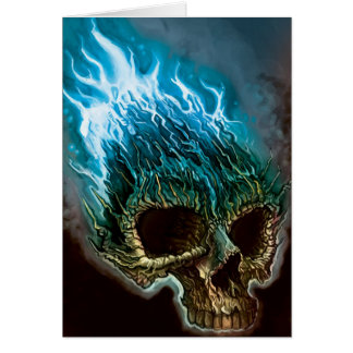 Flaming Skull Greeting Card