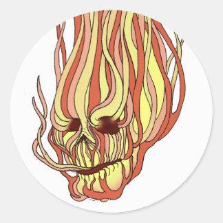 Flaming Skull Classic Round Sticker