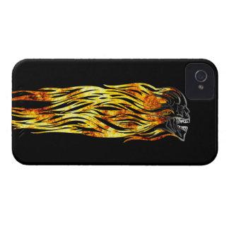 Flaming Skull, Creepy Skull, Fire, Fantasy Art iPhone 4 Case-Mate Case
