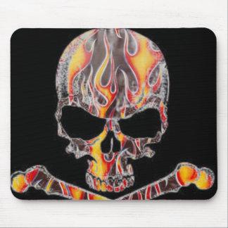 Flaming Skull & Crossbones Mousepad