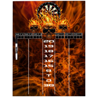 Flaming Skull Darts Scoreboard Dry-Erase Board