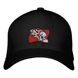 flaming skull dive flag embroidered baseball hat