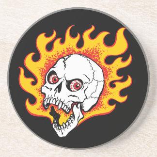 Flaming Skull Drink Coaster