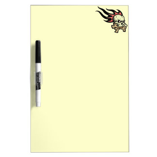 Flaming skull dry erase board