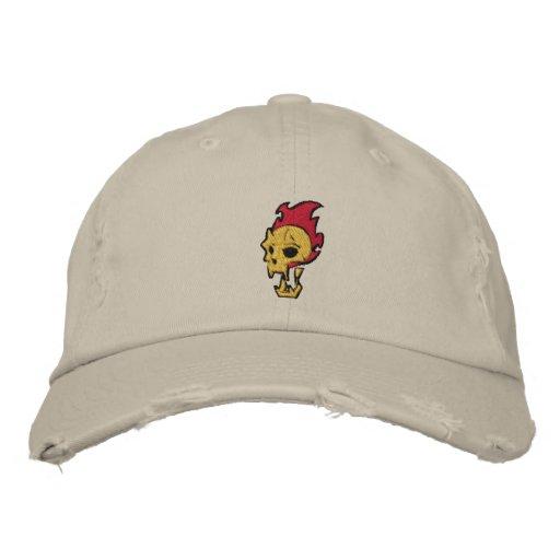 Flaming Skull Embroidered Baseball Hat